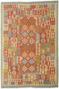 Kelim Afghan Old Style Matta 201X297 Äkta Orientalisk Handvävd Mörkbeige/Röd (Ull, Afghanistan)