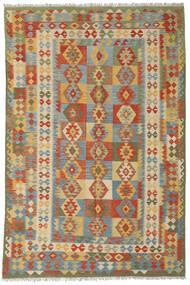 Kelim Afghan Old Style Matta 196X297 Äkta Orientalisk Handvävd Mörkröd/Mörkbeige (Ull, Afghanistan)