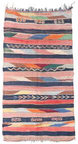 Berber Moroccan - Boucherouite Matta 158X309 Äkta Modern Handknuten Hallmatta Ljusrosa/Mörkblå ( Marocko)