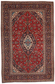 Keshan Matta 200X306 Äkta Orientalisk Handknuten Mörkröd/Svart (Ull, Persien/Iran)