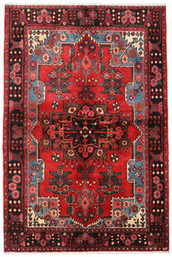 Nahavand Matta 133X205 Äkta Orientalisk Handknuten Mörkbrun/Mörkröd (Ull, Persien/Iran)