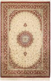 Ghom Silke Matta 132X201 Äkta Orientalisk Handknuten Beige/Ljusbrun (Silke, Persien/Iran)