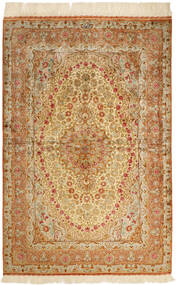 Ghom Silke Matta 102X152 Äkta Orientalisk Handknuten Brun/Mörkbeige/Beige (Silke, Persien/Iran)