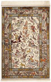 Ghom Silke Matta 98X148 Äkta Orientalisk Handknuten Beige/Brun (Silke, Persien/Iran)