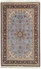 Isfahan Silkesvarp Matta 155X248 Äkta Orientalisk Handvävd Ljusgrå/Mörkbrun (Ull/Silke, Persien/Iran)