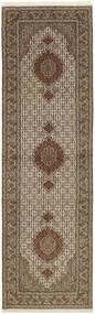 Tabriz 50 Raj Matta 80X292 Äkta Orientalisk Handknuten Hallmatta Ljusgrå/Brun (Ull/Silke, Persien/Iran)