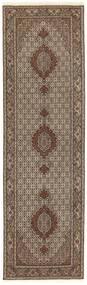 Tabriz 50 Raj Matta 81X294 Äkta Orientalisk Handknuten Hallmatta Brun/Mörkbrun/Ljusgrå (Ull/Silke, Persien/Iran)