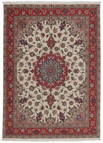 Tabriz 50 Raj Matta 151X204 Äkta Orientalisk Handvävd Mörkröd/Ljusgrå (Ull/Silke, Persien/Iran)