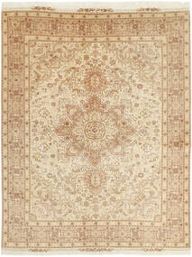 Tabriz 50 Raj Matta 152X202 Äkta Orientalisk Handvävd Beige/Mörkbeige (Ull/Silke, Persien/Iran)