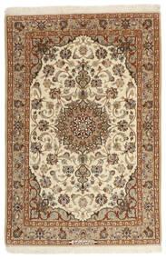 Isfahan Silkesvarp Matta 105X160 Äkta Orientalisk Handvävd Brun/Mörkbeige (Ull/Silke, Persien/Iran)