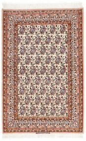Isfahan Silkesvarp Matta 106X161 Äkta Orientalisk Handknuten Beige/Mörkbrun (Ull/Silke, Persien/Iran)