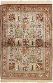 Ghom Silke Matta 102X150 Äkta Orientalisk Handvävd Brun/Ljusgrå (Silke, Persien/Iran)