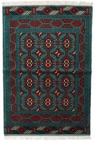 Turkaman Matta 105X150 Äkta Orientalisk Handknuten Svart/Mörk Turkos (Ull, Persien/Iran)