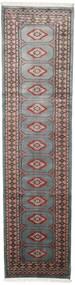 Pakistan Bokhara 2Ply Matta 75X295 Äkta Orientalisk Handknuten Hallmatta Mörkgrå/Svart (Ull, Pakistan)