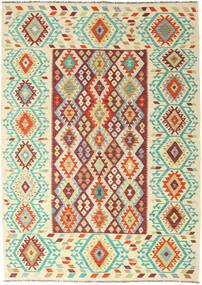 Kelim Afghan Old Style Matta 205X289 Äkta Orientalisk Handvävd Mörkbeige/Beige (Ull, Afghanistan)