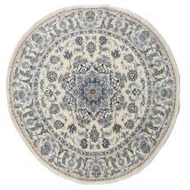 Nain Matta Ø 200 Äkta Orientalisk Handknuten Rund Mörkgrå/Ljusgrå/Mörkbeige (Ull, Persien/Iran)
