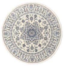 Nain Matta Ø 200 Äkta Orientalisk Handknuten Rund Beige/Ljusgrå (Ull, Persien/Iran)