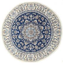 Nain Matta Ø 200 Äkta Orientalisk Handknuten Rund Ljusgrå/Beige/Mörkblå (Ull, Persien/Iran)