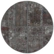 Patchwork - Persien/Iran Matta Ø 100 Äkta Modern Handknuten Rund Mörkgrå/Svart (Ull, Persien/Iran)