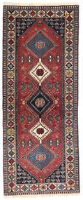 Yalameh Matta 80X195 Äkta Orientalisk Handknuten Hallmatta Mörkröd/Mörkbrun (Ull, Persien/Iran)