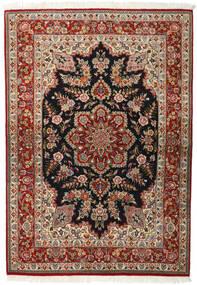 Ghom Kork/Silke Matta 143X203 Äkta Orientalisk Handknuten Mörkbrun/Ljusbrun (Ull/Silke, Persien/Iran)