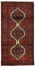 Hamadan Matta 99X193 Äkta Orientalisk Handknuten Mörkröd/Mörkbrun (Ull, Persien/Iran)