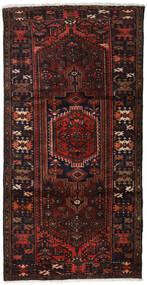 Hamadan Matta 109X210 Äkta Orientalisk Handknuten Mörkbrun/Mörkröd (Ull, Persien/Iran)