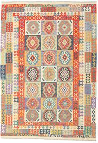 Kelim Afghan Old Style Matta 209X298 Äkta Orientalisk Handvävd Mörkbeige/Ljusgrå/Orange (Ull, Afghanistan)