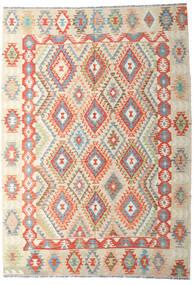 Kelim Afghan Old Style Matta 202X287 Äkta Orientalisk Handvävd Mörkbeige/Beige (Ull, Afghanistan)