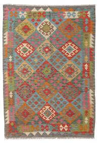 Kelim Afghan Old Style Matta 123X176 Äkta Orientalisk Handvävd Mörkgrå/Mörkröd (Ull, Afghanistan)