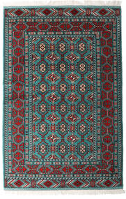 Turkaman Matta 140X208 Äkta Orientalisk Handknuten Svart/Mörkgrön (Ull, Persien/Iran)