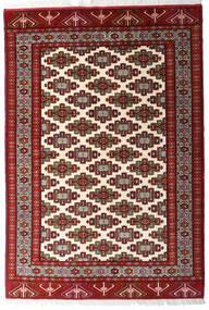 Turkaman Matta 140X203 Äkta Orientalisk Handknuten Mörkröd/Beige (Ull, Persien/Iran)