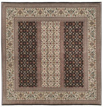 Tabriz 50 Raj Med Silke Matta 198X205 Äkta Orientalisk Handknuten Kvadratisk Mörkbrun/Ljusgrå (Ull/Silke, Persien/Iran)