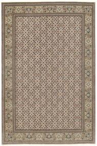 Tabriz 50 Raj Matta 200X302 Äkta Orientalisk Handknuten Ljusgrå/Ljusbrun (Ull/Silke, Persien/Iran)