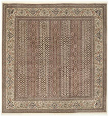 Tabriz 50 Raj Med Silke Matta 200X203 Äkta Orientalisk Handknuten Kvadratisk Ljusgrå/Brun (Ull/Silke, Persien/Iran)