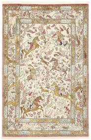Ghom Silke Matta 132X203 Äkta Orientalisk Handknuten Mörkbeige/Gul (Silke, Persien/Iran)