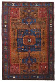 Hamadan Matta 138X204 Äkta Orientalisk Handknuten Mörkröd/Mörkbrun (Ull, Persien/Iran)