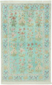 Ghom Silke Matta 102X160 Äkta Orientalisk Handknuten Pastellgrön/Ljusgrå (Silke, Persien/Iran)