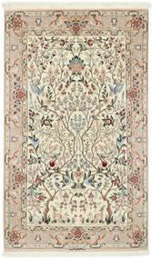 Isfahan Silkesvarp Matta 122X200 Äkta Orientalisk Handknuten Beige/Ljusgrå (Ull/Silke, Persien/Iran)