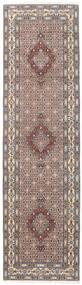 Moud Matta 80X292 Äkta Orientalisk Handknuten Hallmatta Ljusgrå/Mörkbrun (Ull/Silke, Persien/Iran)