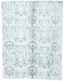 Sari Äkta Silke Matta 153X200 Äkta Modern Handknuten Vit/Cremefärgad/Ljusblå (Silke, Indien)