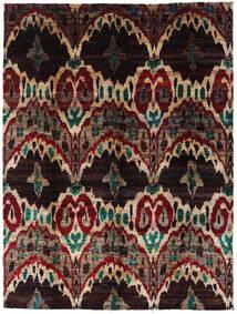 Sari Äkta Silke Matta 275X363 Äkta Modern Handknuten Mörkbrun/Mörkröd Stor (Silke, Indien)
