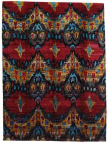Sari Äkta Silke Matta 279X374 Äkta Modern Handknuten Mörkbrun/Mörkröd Stor (Silke, Indien)