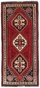 Ghashghai Matta 80X175 Äkta Orientalisk Handknuten Hallmatta Mörkröd/Mörkbrun (Ull, Persien/Iran)