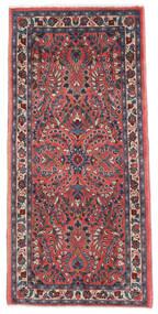 Sarough Matta 65X136 Äkta Orientalisk Handknuten Mörklila/Mörkröd (Ull, Persien/Iran)
