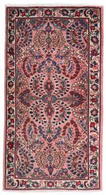 Sarough Matta 75X140 Äkta Orientalisk Handknuten Mörklila/Ljusrosa (Ull, Persien/Iran)