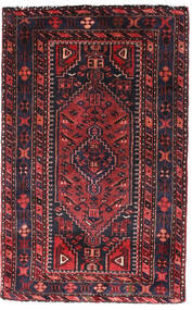 Hamadan Matta 90X140 Äkta Orientalisk Handknuten Svart/Mörkröd (Ull, Persien/Iran)