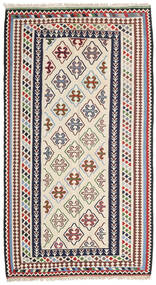 Kelim Senneh Matta 148X268 Äkta Orientalisk Handvävd Beige/Mörkgrå (Ull, Persien/Iran)
