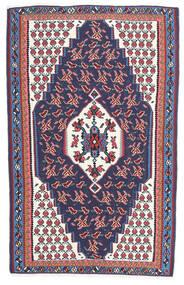 Kelim Senneh Matta 110X165 Äkta Orientalisk Handvävd Mörkgrå/Mörklila (Ull, Persien/Iran)