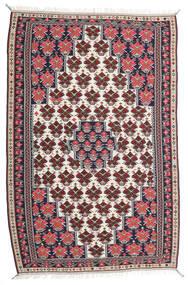 Kelim Senneh Matta 150X220 Äkta Orientalisk Handvävd Mörklila/Ljusgrå (Ull, Persien/Iran)